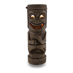 Zeckos - Hitchhiker Tall Flickering Friki Tiki Wooden Solar Accent Light - This cool cast resin Polynesian tiki solar garden light is perfect for adding some pathway light to your garden or landscaping. It attaches to the top of fenceposts, can stand on its own for use as a table light, and makes attractive garden accent lighting. The light turns on automatically in dark conditions, and lasts up to 10 hours under a full charge. The light is a yellow led, that flickers like a candle when lit, to provide you with warm, calm light without having to worry about the wind. Made to look like wood, the light measures 12 inches tall, 3 3/4 inches in diameter. It's great for anyone with a tiki bar.