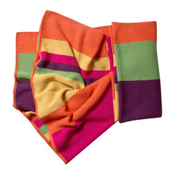 KOKO - Striped Alpaca Throw, Bright - Is there anything cozier than baby Alpaca fleece? This blanket would be just as chic in your living room as it would be warm in your mountain cabin. Just imagine yourself curled up by the fireplace and wrapped up in its embrace.