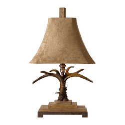 Uttermost - Carolyn Kinder Stag Horn Table Lamp - Designer: Carolyn Kinder. 19 in. W x 12 in. D x 32 in. HThis masculine lamp is finished in a natural brown and ivory with scratched silver and cast aluminum accents. The brushed palomino sueded shade is a rectangle bell with clipped corners.
