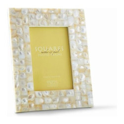 """The Ivory Company - Mother of Pearl Picture Frame  Square - Lustrous, elegant accent gives off a beautiful glow, and adds brilliance to your favorite 4"""" x 6"""" photo."""