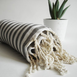 Turkish Bath Towel Peshtemal, Gray By Bath Style - These Turkish bath towels in white and gray stripe would add a nice touch to a master bathroom.