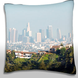 Custom Photo Factory - Panoramic View of  Los Angeles,  California, Polyester Throw Pillow - Panoramic view of  Los Angeles,  California, USA Made in Los Angeles, CA, Set includes: One (1) pillow. Pattern: Full color dye sublimation art print. Cover closure: Concealed zipper. Cover materials: 100-percent polyester velour. Fill materials: Non-allergenic 100-percent polyester. Pillow shape: Square. Dimensions: 18.45 inches wide x 18.45 inches long. Care instructions: Machine washable