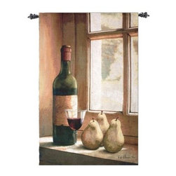 Wine And Pears - 35W x 53H in. - The Wine And Pears - 35W x 53H in. brings emotion to the still life. Made in the USA, this quality tapestry was artfully woven on jacquard looms using lushly colored cotton and blended yarns.About Manual Woodworkers and WeaversManual Woodworks and Weavers is a third generation, family owned manufacturing company based in North Carolina. They have been creating quality gifts, home furnishings, and home décor in the USA since 1932. Their innovative designs and ability to identify trends in the gift and decorative accessories industry has won them numerous number one rankings in home décor by Gift Beat Magazine.
