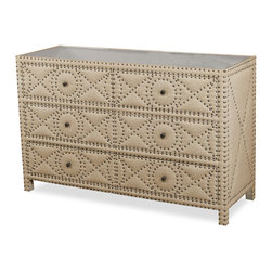 Kathy Kuo Home - Giacomo Hollywood Regency Tufted 6 Drawer Dresser - A casual, natural linen chest of drawers offers ample storage with six deep drawers. Sturdy wood construction finished with antique brass and nail head trim are stylish and simple, while practical in any bedroom, study or sitting room.