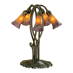Meyda Tiffany - Meyda Tiffany 5-Light Amber Purple Lily Accent Lamp X-26941 - This Meyda Tiffany accent lamp features five lights and beautiful floral detailing. The lights are housed within amber colored mouth blown glass shades, with purple tip detailing. The flowing curves and lily pad shaped base are complimented by a Mahogany Bronze finish. This design is a recreation of a popular Tiffany Studios original.