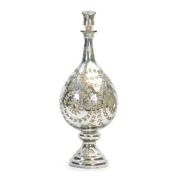 Antique Silver Etched Tear Drop Vase - The Antique Silver Etched Tear Drop Vase comes with extravagant floral chain etching. The flamboyant antique finish and silver polishing on the vase makes it an ethereal addition to your crockery and home decor.