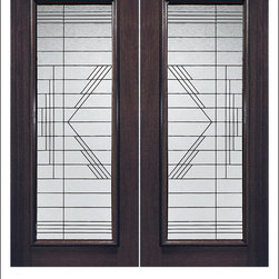 Exterior and Interior Beveled Glass Doors Model # 910 - Our Beveled Glass Doors are made of individually hand cut glass put together with metal caming.  Doors triple glazed (three pieces of glass) for insulation and they are easy to clean with a smooth surface.  Doors are available in a variety of sizes and styles. The door is constructed from FSC Brazilian Mahogany.  Interior versions of these doors are available in our Decorative Glass Doors under the interior doors category.