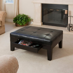 Christopher Knight Home - Christopher Knight Home Chatham Black Bonded Leather Storage Ottoman - This black leather storage ottoman would be a chic and contemporary addition to your living room. With hardwood legs that protect flooring and a hidden slide-out drawer,this stylish black ottoman would blend perfectly with any loveseat or sofa.