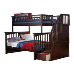 Atlantic Furniture - Columbia Staircase Bunk Bed, Antique Walnut, Twin Over Full - This Columbia Staircase Bunk Bed Twin over Full in Antique Walnut by Atlantic Furniture will surely become their favorite sleepy time fort and you can feel good about the quality.