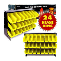 Trademark Global - Three-Shelf Steel Storage Rack w Twenty-Four - Organize your work area like never before with this stylish twenty-four bin unit. The frame is made from steel for maximum strength, while the spacious storage containers are perfect for separating your tools and supplies so you can find them when you need them. The perfect solution for garages, workshops, sheds, and utility rooms. Steel construction rack unit. Black powdercoated finish. Great for use on a workbench. 3 shelves: 31 1/8 in. L x 10 5/8 in. D. 24 plastic bins that measure: 3 1/2 in. W x 11 in. LHere is a great way to get your work area organized while easily being able to view what you have in which bin Comes with all the parts needed for simple assembly. Quickly and easily clean up your work space!
