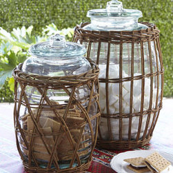 Park Hill Collections - Park Hill Collections Extra-Large Willow-Wrapped Canister - Evoke thoughts of coastal climes and seaside resorts with these willow-wrapped canisters. They offer a variety of versatile storage or serving options. Mouths are wide enough for a ladle, so they make unique alternatives to traditional beverage dispensers. Handcrafted of glass and natural willow tw