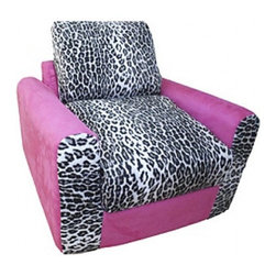 """Fun Furnishings - Fun Furnishings Leopard Chair Sleeper in Pink/ Brown - What a great place to plop down and relax. Each bag come with a handy pocket to store the clicker or any other prized possession. The outer cover is removable for cleaning. The inner liner bag securely contains new fire retardant �beads"""" and is refillable too. Cleaning the cover. We use only fine upholstery-grade fabrics that can take lots of use from kids. Our micro Suede's, denims and chenille's are all washable."""
