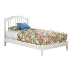 Atlantic Furniture - Atlantic Furniture Windsor Platform Bed with Open Footrail in White-Twin - Atlantic Furniture - Beds - AP9421002 - The Atlantic Furniture Windsor Platform Bed brings a smooth romantic glow to your bedroom. The solid Asian hardwood construction of this frame ensures many years of peaceful rest. So get the rest you deserve with the Windsor Platform Bed.