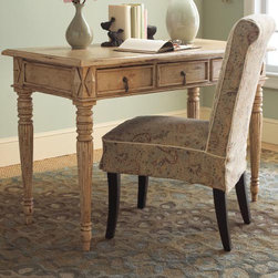 Valerie Desk and Patricia Chair - Add texture, a sense of age and elegance to your home with this distressed wood three-drawer desk. Use it in the home office, as a dressing table, or as a console table in your entryway or dining room.
