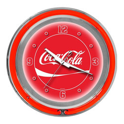 Trademark Global - Coca-Cola Neon Wall Clock in Dynamic Ribbon & - Requires 1 AA battery for clock operation. Battery not included. AC power adapter with 6 ft. cord and On & Off switch for Neon ring operation. Battery operated quartz clock mechanism. High grade glass cover. High polished Chrome finish molded resin housing. Brushed metal hour and minute hands. Red second hand. Full color logo on the clock dial. Double ring of Neon. Outside ring coordinates with printed logo and inside ring illuminates the clock face. Wall hanging mount. 14.5 in. Dia. x 3 in. H (7 lbs.)Bring the unique style of the world's most recognizable brand home with this incredible Coca-Cola clock! This retro Neon clock comes with two Neon rings – a bright White Neon on the inside to light up the Coca-Cola graphic and a vibrant red ring on the outside. The high gloss chrome molded clock case adds to the brilliant shine of the Neon. Make a spectacular addition to your kitchen, den or game room with this amazing clock.