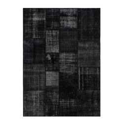 """Pre-owned Black Overdyed Turkish Patchwork Carpet - Traditional Turkish patterns from an assortment of vintage pieces mix to make this hand made, naturally distressed vintage rug. Full cotton backing and decorative blanket stitch edging.    Remnants of vintage wool on a cotton warp, made entirely by hand in the '60's through '80's when Turkish women still included weaving in their daily homemaking chores. Employing the sturdy double knot technique unique to Turkish rugs, multicolor floral and medallion motifs were created a row at a time using bright hand dyed wools. Considered too old fashioned for modern Turkish homes in their traditional incarnations, these rugs have languished in back rooms of the bazaars‰Ű_until now, as these fragments in excellent condition are overdyed and combined to create modern patchwork statements for the floor.    Note from the seller: """"Our revitalization process keeps rugs that may otherwise get tossed out of landfill. Repurposed discards are helping artisans connect and create, supporting the community we're building here in Istanbul to revive vanishing traditional fiber crafts.‰Űť    Please note that all sales are final - These amazing rugs are coming direct from Istanbul, Turkey and returns will not be allowed."""