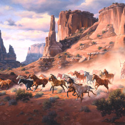 Murals Your Way - Sandstone And Stolen Horses Wall Art - Painted by Jack Sorenson, the Sandstone And Stolen Horses wall mural from Murals Your Way will add a distinctive touch to any room