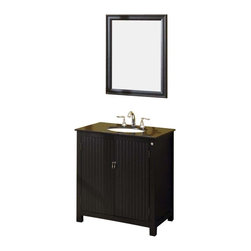 Fresca - Fresca Lynx Classic Single Sink Bathroom Vanity w/ Black Galaxy Countertop - The Fresca Lynx Classic Single Sink Bathroom Vanity has wide appeal for a small bath or powder room. The double door panels have vertical lines crafted into a solid Aspen wood frame. The traditional black wood finish pairs well with antique hardware and your choice of either flecked Baltic brown or solid black galaxy granite countertops. Storage-wise, this bathroom vanity provides two interior shelves for towels and necessities. Choose the Lynx Classic Mirror for a matched set (sold separately).