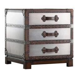 Hooker Furniture - Melange Bondurant Accent Chest - White glove, in-home delivery!  For this item, additional shipping fee will apply.  Country meets city in the Bondurant Accent Chest with its faux zinc finish and leather and nail head trim.  It features three drawers with leather strap pulls.