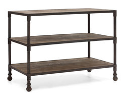 ZUO ERA - Mission Bay Wide 3 level Shelf Distressed Natural - An elegant  triple shelved serving tray befitting of a Downton Abbey episode, this distressed table pairs the warmth of reclaimed fir wood with the efficiency of aged metal frames, for an industrial aristocratic look. Imperfect fir wood, rustic overtones and yet one can imagine a fancy affair surrounding this mobile unit.