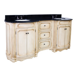 Hardware Resources - Hardware Resources VAN040D-14E - This 74-1/4 in  wide MDF elliptical vanity is accented with reed columns and simple carvings. The buttercream finish with antique crackle is created by hand, making each vanity unique. Two large cabinets and two center drawers equipped with full extension slides provide ample storage. This vanity has a 2 cm black granite top preassembled with two H8809WH (15 in  x 12 in ) bowl, cut for 4 in  faucet spread, and corresponding 2 cm x 4 in  tall backsplash. Overall Measurements: 74-1/4 in  x 23-1/4 in  x 35-3/4 in  (measurements taken from the widest point)