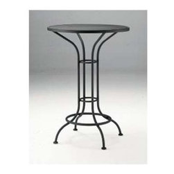 """Woodard - Bar Height Outdoor Round Mesh Top Bistro Table - The beauty and character of hand-formed metal, blended with intricate details, allows the Classics Wrought Iron Collection to fit any style or taste. The Bar Height Table Collection come with your choice of clear or obscure tempered safety glass, or metal mesh tops, combining the durability and beauty of Woodard's authentic designs. Features: -Bistro table.-Mesh table top.-NOTE: Umbrellas for use with bar height tables must have extended height bottom poles.-Suitable for residential or commercial use.-Under Table Storage Space: No.-Distressed: No.Dimensions: -Overall dimensions: 42.4"""" H x 30.1"""" D.Assembly: -No assembly required."""