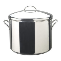 """Farberware - Farberware Classic Series Stainless Steel 16 qt. Stock Pot with Lid Multicolor - - Shop for Stock Pots & Slow Cookers from Hayneedle.com! The Farberware 50009 Classic Series Stainless Steel 16 qt. Stock Pot with Lid is made for lavish celebrations. Great for soups stews pastas or chili this 16-quart capacity pan is finished in a mirror polish and is made of heavy 18/10 stainless steel. The designation 18/10 means this pan features heavy duty base metals that help in avoiding corrosion and pitting. The pan has an aluminum core in its base to spread heat quickly and evenly. The core is completely clad in stainless steel so like the rest of the pan the bottom resists corrosion and discoloring and cleans up easily. Thick rolled rims add durability and make it possible to pour from the pan without dripping. This pan features a tight-fitting lid that keeps moisture in preventing vitamins and the flavors of the foods from escaping.About FarberwareIn 1900 a tinsmith named S.W. Farber set up a shop in Manhattan where he started a small business making bowls and vases out of hand-pounded sheets of copper and brass. Since that time the Farberware company has grown exponentially; in 1930 they introduced their first line of percolators adding small appliances to the list of items for which they were already known. In today's market Farberware is valued for its product innovation. Over the years they have been responsible for such designs as the electric fry pan with removable probe for easy cleaning and the """"Open Hearth"""" smokeless broiler. Quality classic styling and years of tradition go into each Farberware product. With Farberware you know you're not just buying a piece of cookware; you're buying a legacy of great value."""