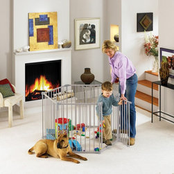 North States - North States 3 in 1 Metal Superyard Playpen - 4930 - Shop for Safety Gates from Hayneedle.com! Keeping toddlers out of trouble one home at a time the North States 3 in 1 Metal Superyard Playpen is a must-have for fireplaces staircases or the everyday play session. Great for creating an outdoor barrier for worry-free fun or an indoor safe space. Certified by the JPMA this quality piece features an innovative childproof double locking system for total safety and mounts to the wall for simple and secure installation. Rubber pads prevent scratching of hardwoods or tile floors. And when you need to accommodate more children or even pets simply expand the three-in-one piece with a matching extension kit (sold separately).About North StatesAn employee-owned company North States prides itself on bringing high-value products and creative solutions to the juvenile and pet markets. Committed to quality durability and versatility North States is a global leader in the world of safety and innovation. Every piece manufactured by North States is JPMA-certified to meet rigorous safety standards and most are made right here in the USA. From versatile child safety gates to pet enclosures to bird feeders and houses North States protects those you love the most by investing in their safety.