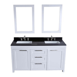 Bosconi - 60 in. Double Vanity in White Finish - Faucet and drain not included. Two soft closing doors. Three soft closing drawers. Silver finished hardware. Two under mount white ceramic sinks. Six 8 in. standard faucet holes. Overflow drain. 0.7 in. thick black granite countertop. CARB PH2 Certified sides and paneling. Made from birch solid wood frame. Matching backsplash: 0.7 in. D x 2.75 in. H. Mirror: 23 in. W x 33 in. H (24 lbs.). Sink: 21 in. W x 13.5 in. D x 6.9 in. H. Vanity: 60 in. W x 19 in. D x 34 in. H (230 lbs.)The spacious cabinets and drawers accommodated the accessories and toiletries of a couple together with vertically installed vanity mirrors that compliment the bathroom while allowing for a fully customizable surface, a sight to behold.