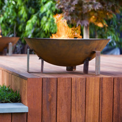 """EcoSmart Fire Dish Outdoor Fireplace - Cylindrical shaped """"tea light"""" fireplace constructed from weather-resistant materials that is fully portable and designed to make a dramatic statement in any outdoor setting."""
