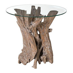Driftwood with Glass Top Side Table - The sun-washed driftwood base makes this table a real conversation piece. I love natural products like this as a side table.
