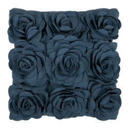"Surya - Square Wool Pillow FA-082 - 22"" x 22"" - Add a bit of natures beauty to your room with this pillow. Large, fashionable flowers stand out in any space. The color marine blue accents this decorative pillow. This pillow contains a poly fill and a zipper closure. Add this pillow to your collection today."