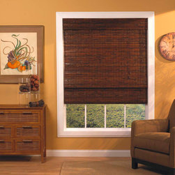 None - Mahogany Roman-Style Bamboo Shade - Light filtering provides privacy and energy-efficient insulation qualities. This natural bamboo shade easily folds up to welcome the sun. This shade easily installs in minutes and includes all necessary hardware for easy installation.