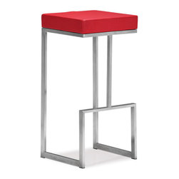 ZUO - Darwen Bar Chair - Red - Compelling geometric design makes the Darwen Bar Chair an eye-catching blend of form and function. Gleaming stainless steel holds a plush leatherette seat. Comes in black, white, or bright red.