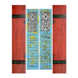 Yosemite - Yosemite FCE-DF1200 Shutters Wall Art - Yosemite FCE-DF1200 Shutters Wall ArtSet of 4 - Two hand painted pair of shutters, one set is in blue & gold and the other is in brick red and black.Yosemite FCE-DF1200 Features: