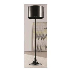 Fine Mod Imports - Tulip Floor Lamp in Black - Bulb not included. Requires 60 watt E26 type bulb. Contemporary style. Stainless steel lamp shade. Warranty: One year. Assembly required. 19.5 in. Dia. x 69.5 in. H (15 lbs.)A contemporary design coupled with quality craftsmanship make this classic floor lamp an ideal choice.