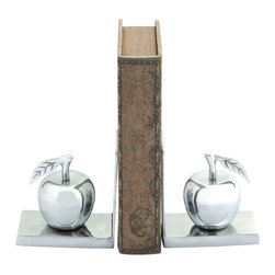 Benzara - Aluminum Bookend with 2 Shimmering & Lustrous Apples - This Aluminum Bookend allows you to store your books with absolute style. When placed in this bookend, your classics remain untouched and unblemished. Made of Aluminum, this bookend has two shimmering and lustrous Apples on each side. The Aluminum Bookend is a space efficient home accessory that unclutters shelves to make room, but at the same time can be used to display your most prized possessions - your books. This exquisite piece is ideal for your living room, bedroom or office. The contemporary and modern elements of the bookend can be used to add a modern touch to your office and living space. The aluminum bookend is crafted with fine details all around the cornices and that gives it a beautiful appearance. It extends a touch of uber style and class. The bookend can be used as an art accessory and allows you to showcase your sophisticated taste. It comes with a dimension of 6 in.  H x 5 in.  W x 3 in.  D.