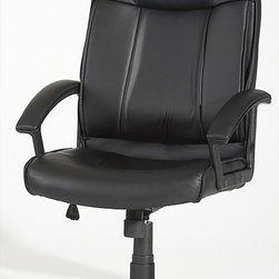 Chintaly Imports - High Back Multi Adjustable Pneumatic Gas Lift Office Chair - Pneumatic gas lift adjustable height swivel high-back computer chair. Seat back and arms are upholstered in Black PU. Tailored and contoured seat and back. 5 star caster base allow the chair to move with ease. Chair also has locking mechanism to allo