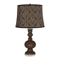 """Color Plus - Contemporary Carafe Black Bronze Metallic Shade Apothecary Table Lamp - Carafe brown glass table lamp. Black bronze metallic print drum lamp shade. Lucite base. Maximum 150 watt or equivalent bulb (not included). On/off switch. 30"""" high. Shade is 14"""" across the top 16"""" across the bottom 12"""" on the slant.   Carafe brown glass table lamp.  Black bronze metallic print drum lamp shade.  Lucite base.  Maximum 150 watt or equivalent bulb (not included).  On/off switch.  30"""" high.  Shade is 14"""" across the top 16"""" across the bottom 12"""" on the slant."""