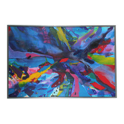 Lost Art Salon - 1967 Original Vibrant Oil Abstract - Add vibrancy and excitement to your favorite modern setting with this original oil. Its brilliant colors and dynamic strokes almost burst from its hand-built frame.