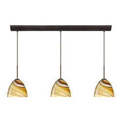 Besa Lighting - Besa Lighting 3BV-7572HN-LED Sasha II 3 Light LED Linear Pendant - Sasha II has a classical bell shape that complements aesthetic, while also built for optimal illumination. This unique decor is handcrafted, with layered swirls of yellow-amber and golden-brown against white, finished to a high gloss. It's classic swirl pattern and high gloss surface has a truly florid gleam. Honey is a hand-blown glass designed to have a shiny and polished finish. The glass is gathered and rolled into shape a unique pattern is formed that cannot be replicated. This blown glass is handcrafted by a skilled artisan, utilizing century-old techniques passed down from generation to generation. Each piece of this decor has its own unique artistic nature that can be individually appreciated. The cord pendant fixture is equipped with three (3) 10' SVT cordsets and a 3-light bar canopy.Features: