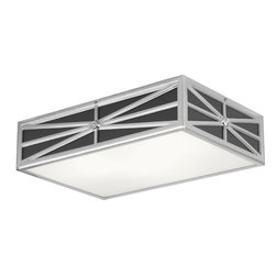 Robert Abbey - Directoire Flush Mount Light - Add a modern flush mount fixture to your powder room or even your outdoor porch for a sophisticated touch. The silver plate hardware looks chic against white or gray glass accents. Either way, your space will glow with a soft and flattering light.