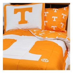 College Covers - NCAA Tennessee Volunteers King Bed Set Orange Cotton Bedding - Features: