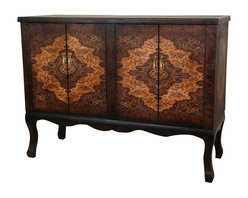 Oriental Furniture - Olde-Worlde Vintage Double Chest - An outstanding double cabinet style server, buffet, or credenza, with beautiful European style decorative designs. Printed on dark, distinctive textured faux leather, providing a lovely, durable, easily maintained finish. The height, depth, and length of this piece make it particularly convenient for a variety of purposes. Solid and sturdy enough for a unique flat screen TV stand in the family room, an elegant small server in the dining room, or an attractive credenza in a home or professional office.