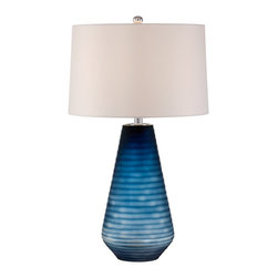 "Possini Euro Design - Possini Euro Design Marlin Blue Art Glass Table Lamp - An on-trend table lamp design in an eye-catching blue gradient effect. A ribbed detail adds depth and texture to the design. Topped with a drum lamp shape. Glass table lamp. Blue finish. Drum lamp shade. Ribbed detail in the base. On-off switch. Maximum 150 watt or equivalent bulb (not included). Shade measures 15"" across the top 16"" across the bottom 10"" on the slant. 26"" High.  26""H Glass table lamp.   Blue finish.  Drum lamp shade.  Ribbed detail in the base.  On-off switch.  Maximum 150 watt or equivalent bulb (not included).  Shade measures 15"" across the top 16"" across the bottom 10"" on the slant.  26"" High."