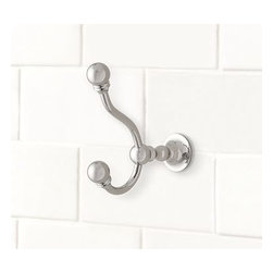 "Sussex Wall Hook, Polished Nickel finish - Our double hook has a versatile design that suits baths of all styles.2.5"" wide x 5"" deep x 6"" highCrafted of durable die-cast brass. View our {{link path='pages/popups/fb-bath.html' class='popup' width='480' height='300'}}Furniture Brochure{{/link}}. Catalog / Internet Only."
