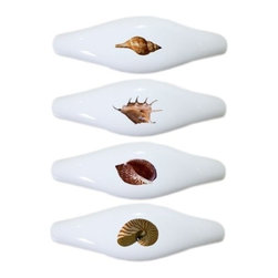 Carolina Hardware and Decor, LLC - 4 Seashell Ceramic Cabinet Drawer Pull Handle (Drawer Pulls) - New ceramic cabinet, drawer, or furniture pull with mounting hardware included. Pull has standard three inch centers.  Can be wiped clean with a soft damp cloth. Great addition and nice finishing touch to any room!