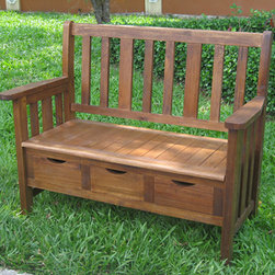 International Caravan - International Caravan 3-drawer Large Acacia Bench with Arms - Functional and stylish, this large outside storage bench offers the benefits of storage and seating. Made from solid Acacia hardwood, this sturdy bench can withstand inclement weather, and the three drawers are perfect for seeds and garden gloves.
