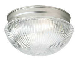 Forte Lighting - Forte Lighting 6038-02 Flushmount Ceiling Fixture Close to Ceiling Coll - Ceiling light in a brushed nickel finish with a clear ribbed glass shade.