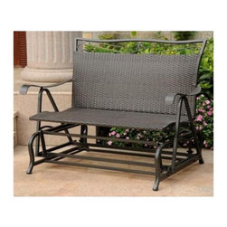 International Caravan - Double Patio Glider Chair in Antique Black Fi - Finish: Black AntiqueAll weather resistant. UV light fading protection against sun light. Coated frame. Smooth gliding motion for excellent comfort an style. Made from wicker resin and steel frame. Assembly required. 39 in. W x 34 in. D x 42 in. H (63 lbs.)